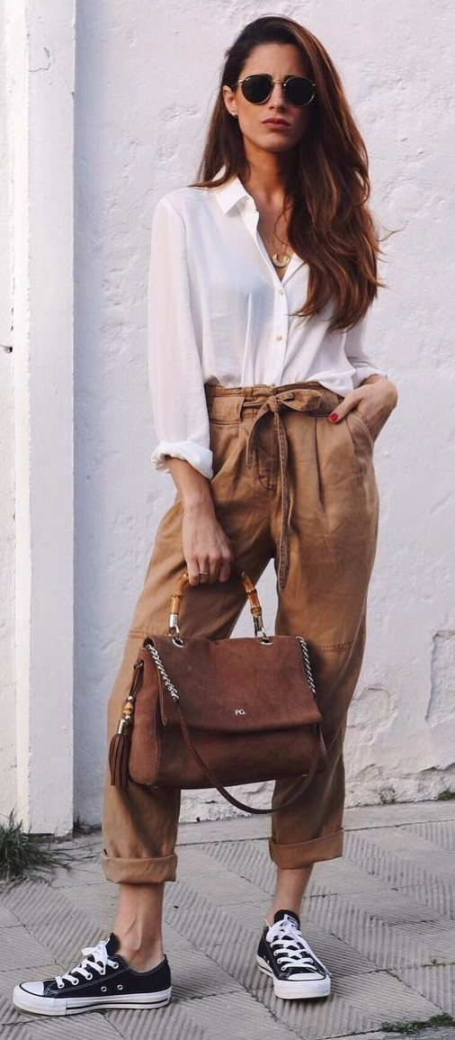 high waist camel + white shirt | keeping it simple