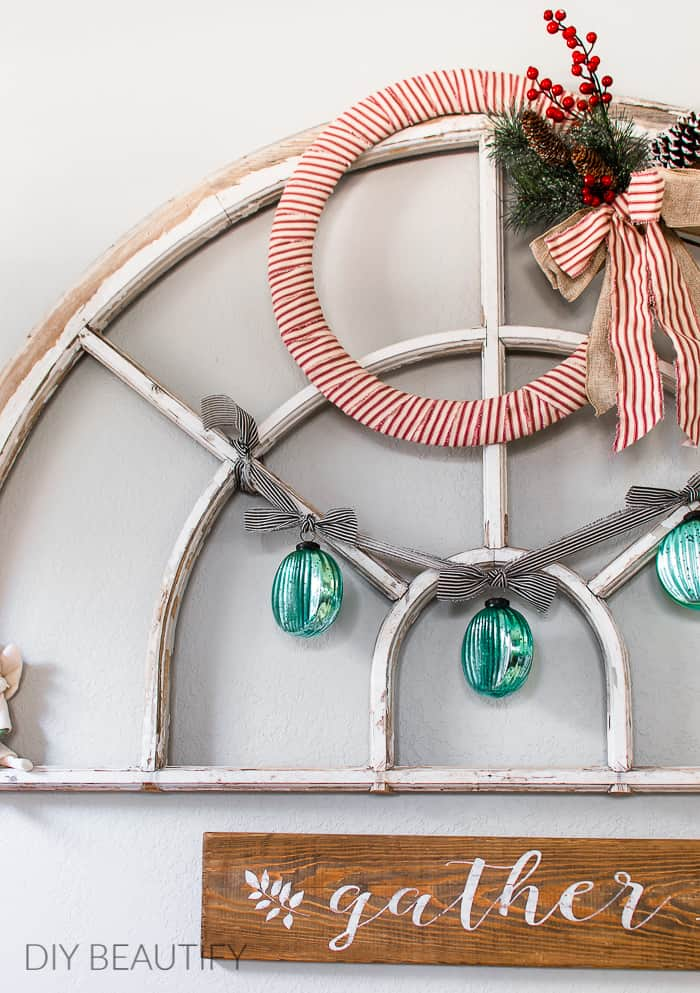 vintage window with mercury glass ornament garland