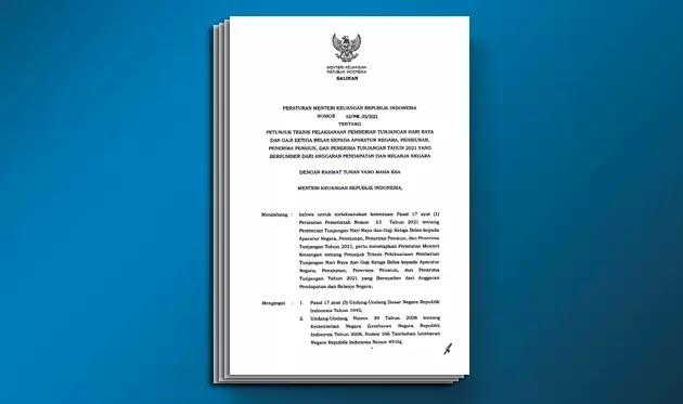 PMK Nomor 42 Tahun 2021 Tentang Juknis Pelaksanaan Pemberian THR dan Gaji Ke-13 Kepada   Aparatur Negara, Pensiunan Tahun 2021 yang Bersumber dari APBN
