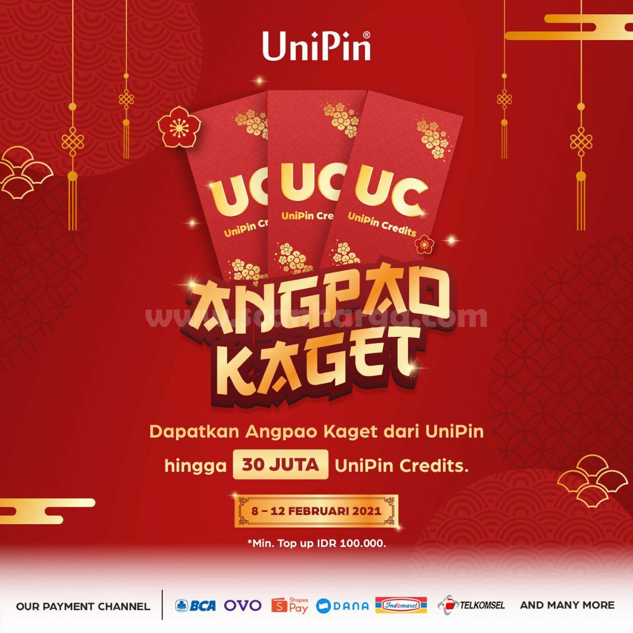 Promo UniPin ANGPAO KAGET! min. Top Up IDR 100.000