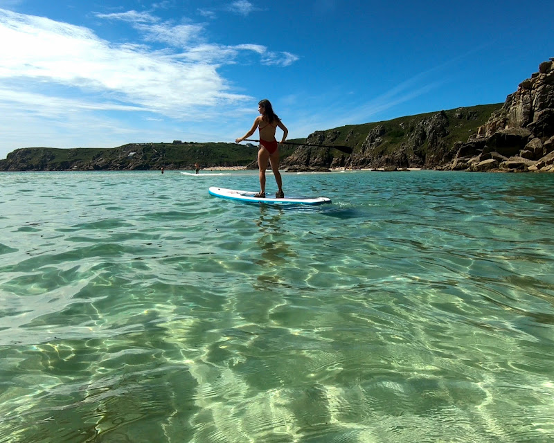 Paddle boarding from Porthcurno to Pedn Vounder