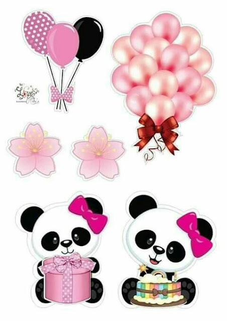 Baby Girl Bear with Balloons in Pink: Free Printable Cake Toppers.