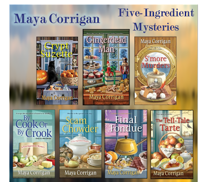 Book covers of the 7 Five-Ingredient Mysteries by Maya Corrigan