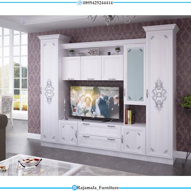 Jual Bufet TV Mewah Putih Duco Classic Luxury Jepara RM-0388