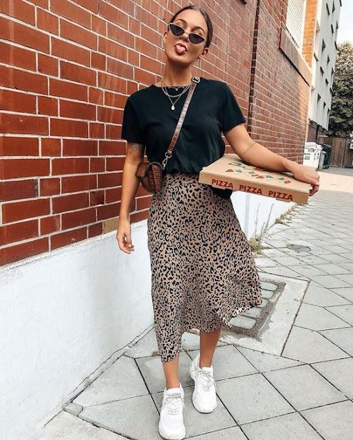 outfits de moda falda animal print