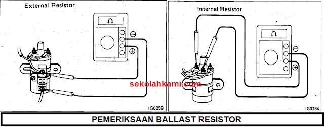 pemeriksaan tahanan ballast resistor koil