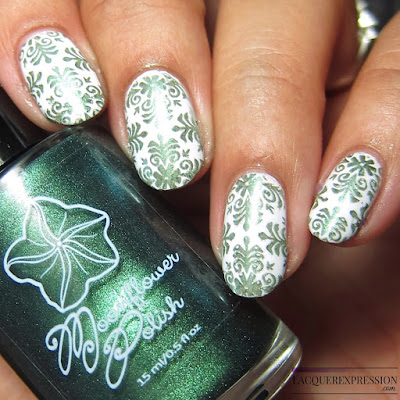 Moonflower Polish Sirena nail polish stamped over white