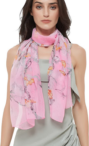 Flower Print Sheer Soft Pink Chiffon Scarves Shawls