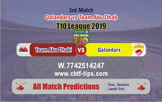 Who will win Today T10 2019, 3rd Match QAL vs TAD 3rd, 100% Sure Prediction