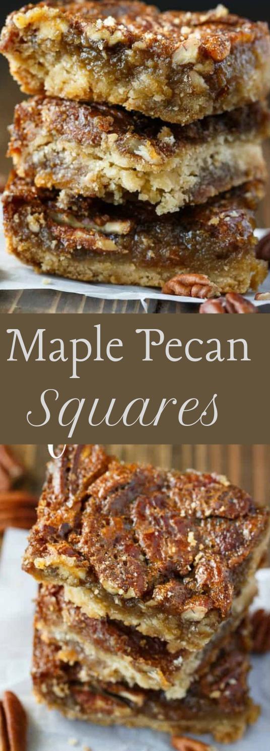 Maple Pecan Squares #maple #dessert
