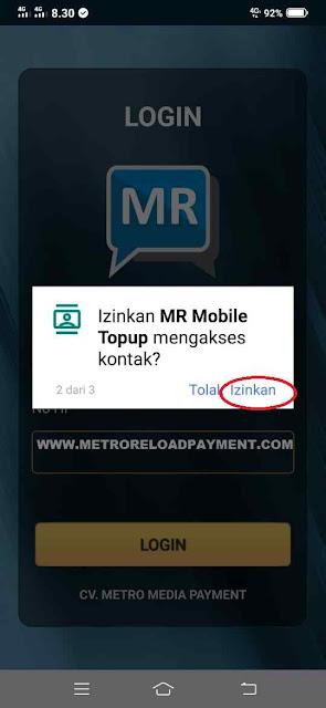 Izinkan  MR Mobile Topup Mengakses Kontak