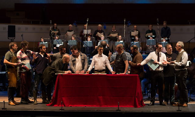 Roderick Williams as Christ, centre, performs The Last Supper with the BBCSSO. Photograph: Alex Woodward/BBC