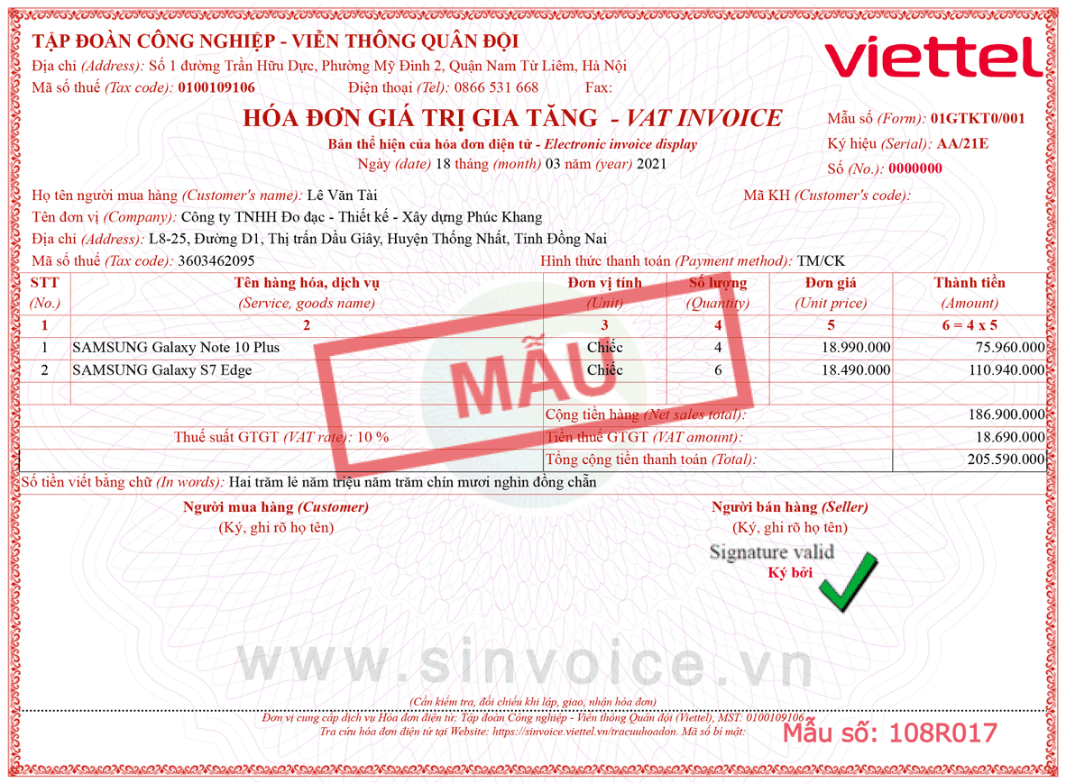 Mẫu hóa đơn điện tử số 108R017