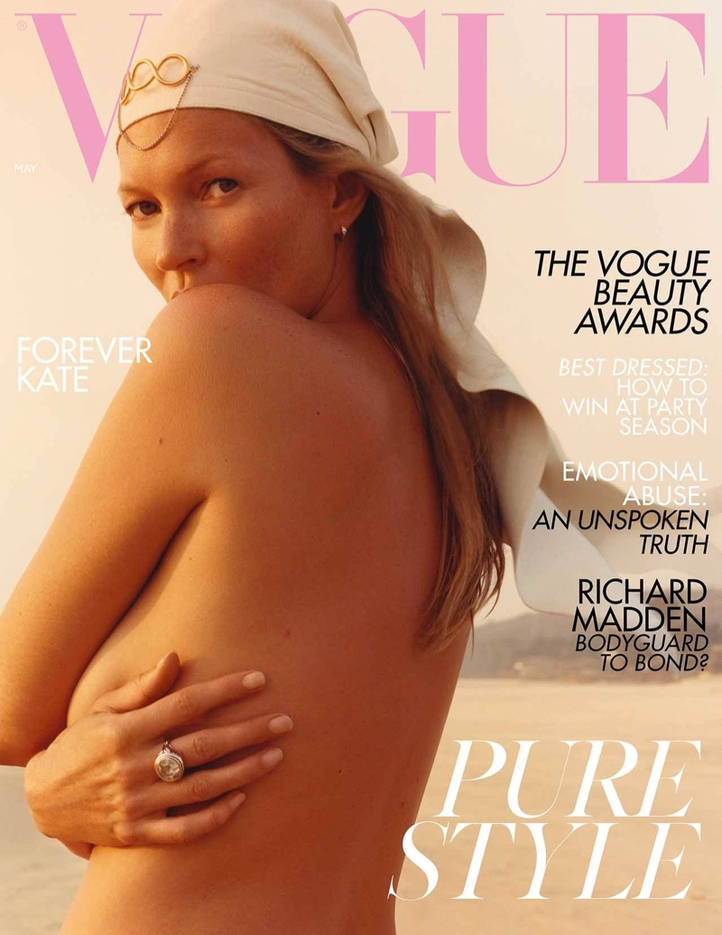 Supermodel Kate Moss on Vogue UK May 2019 Cover