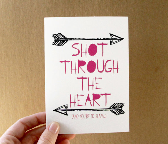 33 Valentine Card Love Shot Through The Heart Bon Jovi Quote Pink  Typography Black Arrows Via