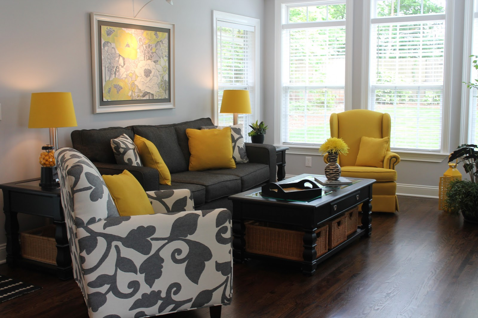 Yellow And Gray Living Room Party Day Carolina Charm