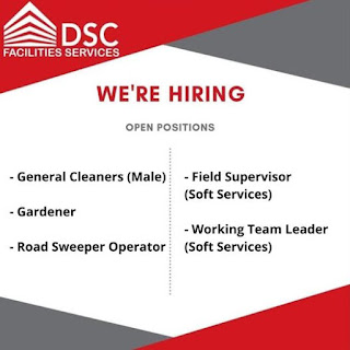 DSC Facilities Services LLC Recruitment For Receptionist, Supervisors, Housekeepers, Drivers, Carpenter, Mason, Gardeners and More Vacancies in Dubai, UAE Locations