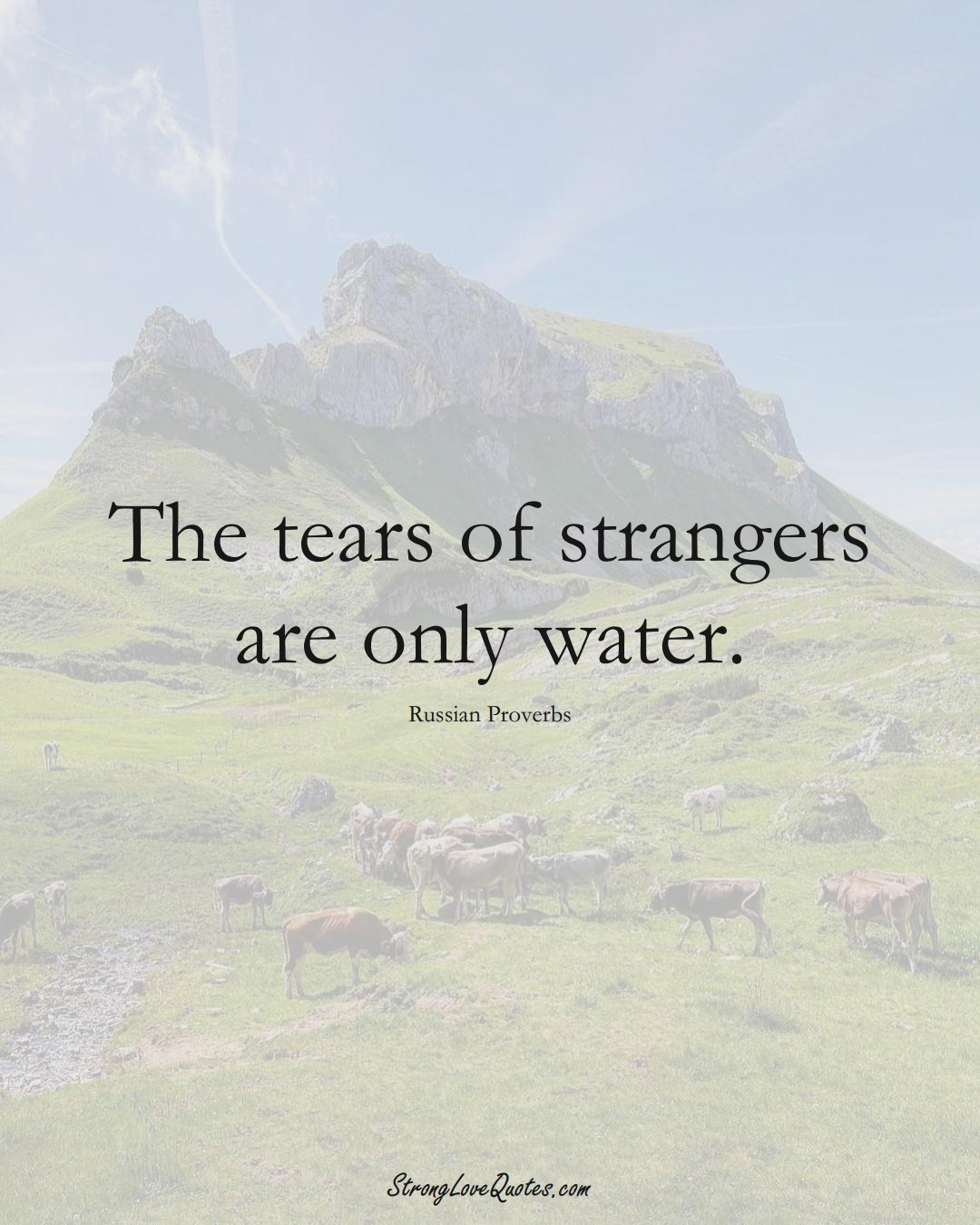 The tears of strangers are only water. (Russian Sayings);  #AsianSayings