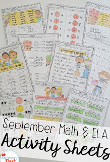 September ELA and Math activity sheets- September Activities and primary resources plus three FREEBIES- fun ELA, math, and social studies activities for students during the month of September