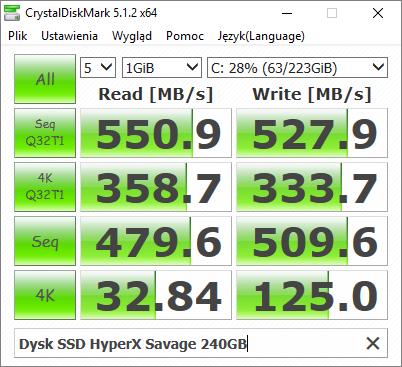 Wydajność dysku SSD HyperX Savage 240GB