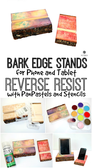 Bark Edge Stands for Phone and Tablet Reverse Resist Stencil Technique with PanPastels by Dana Tatar for Walnut Hollow and StencilGirl