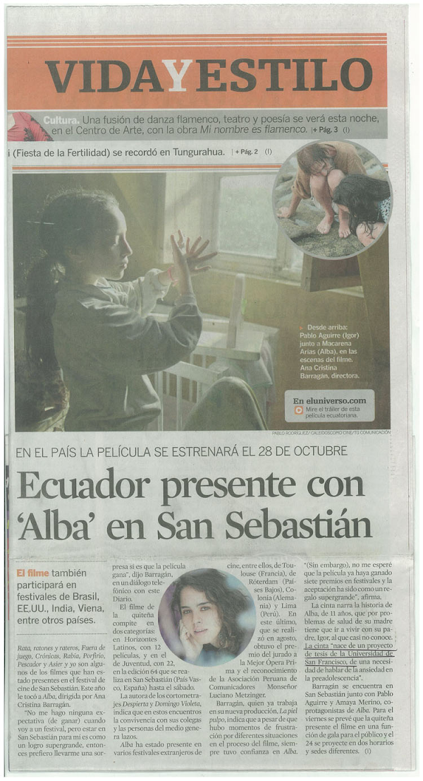Ecuador presente con Alba en San Sebastián