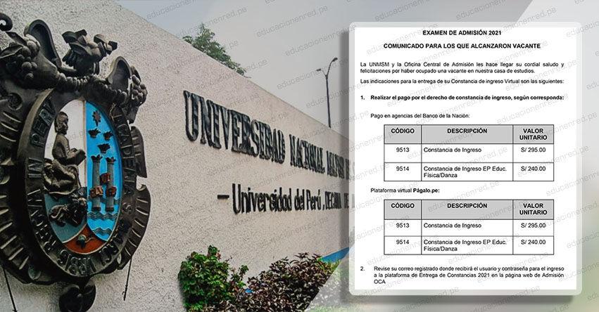 ADMISIÓN UNMSM 2021: Comunicado para los que alcanzaron vacante en el Examen de Admisión a la Universidad Nacional Mayor de San Marcos - www.unmsm.edu.pe
