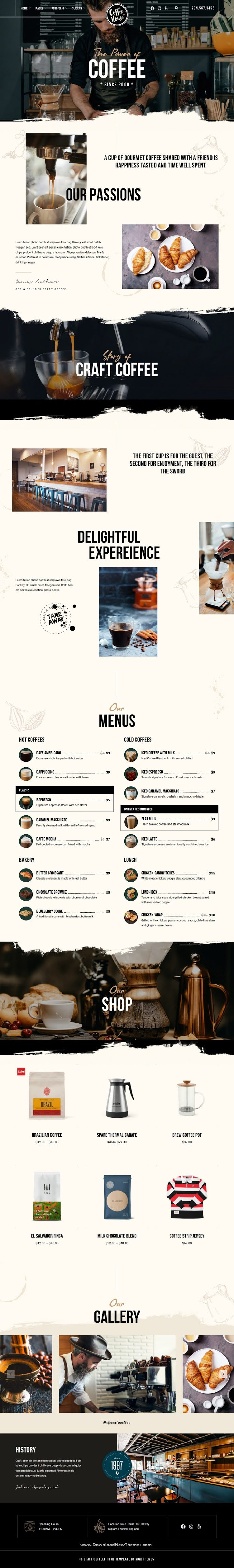 Coffee Shop Cafe Restaurant HTML Template