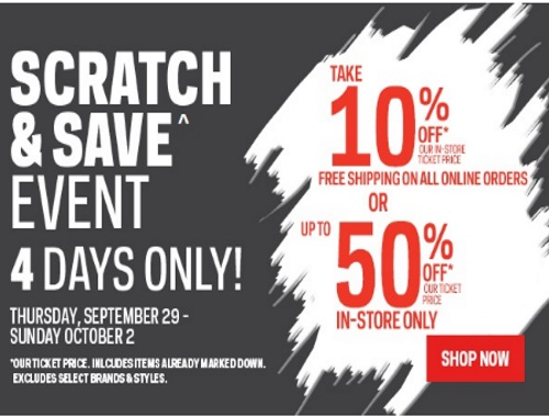 Sportchek Scratch & Save Up to 50% Off