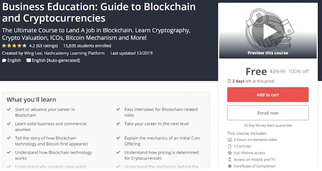 [100% Off] Business Education: Guide to Blockchain and Cryptocurrencies| Worth 29,99$