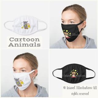 Cartoon animal cotton face masks