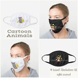 Cartoon animal cotton face masks