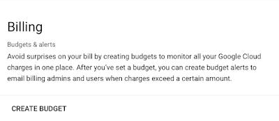 GCP create budget