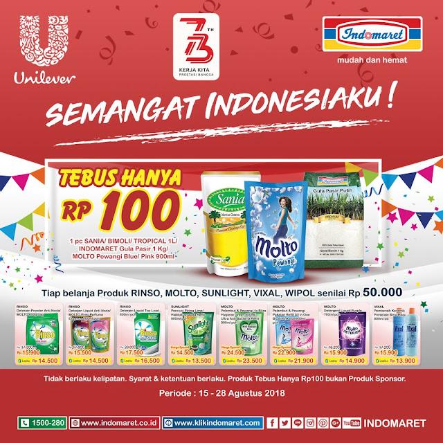 Indomaret - Promo STebus Cuma 100 Rupiah Produk Unilever (s.d 28 Agustus 2018)