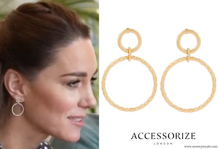 Kate Middleton wore Accessorize Twisted Circle Drop Earrings