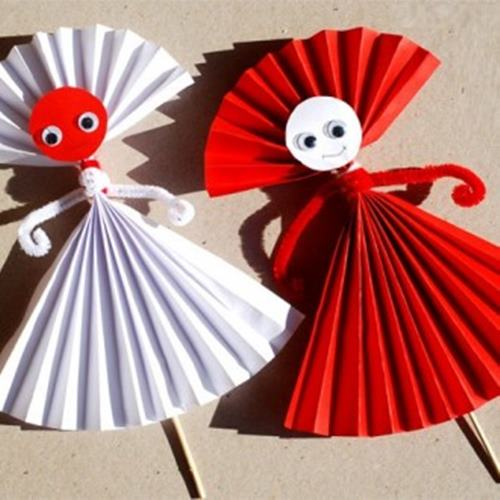 Easy paper doll craft for kids easy make origami for Art and craft with paper easy