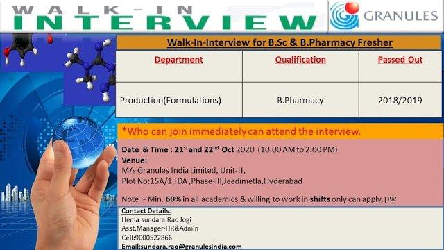 Granules Pharma | Walk-In for Freshers (B.Pharmacy) on 21&22 Oct 2020 at Hyderabad