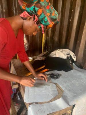 Girl making shoe