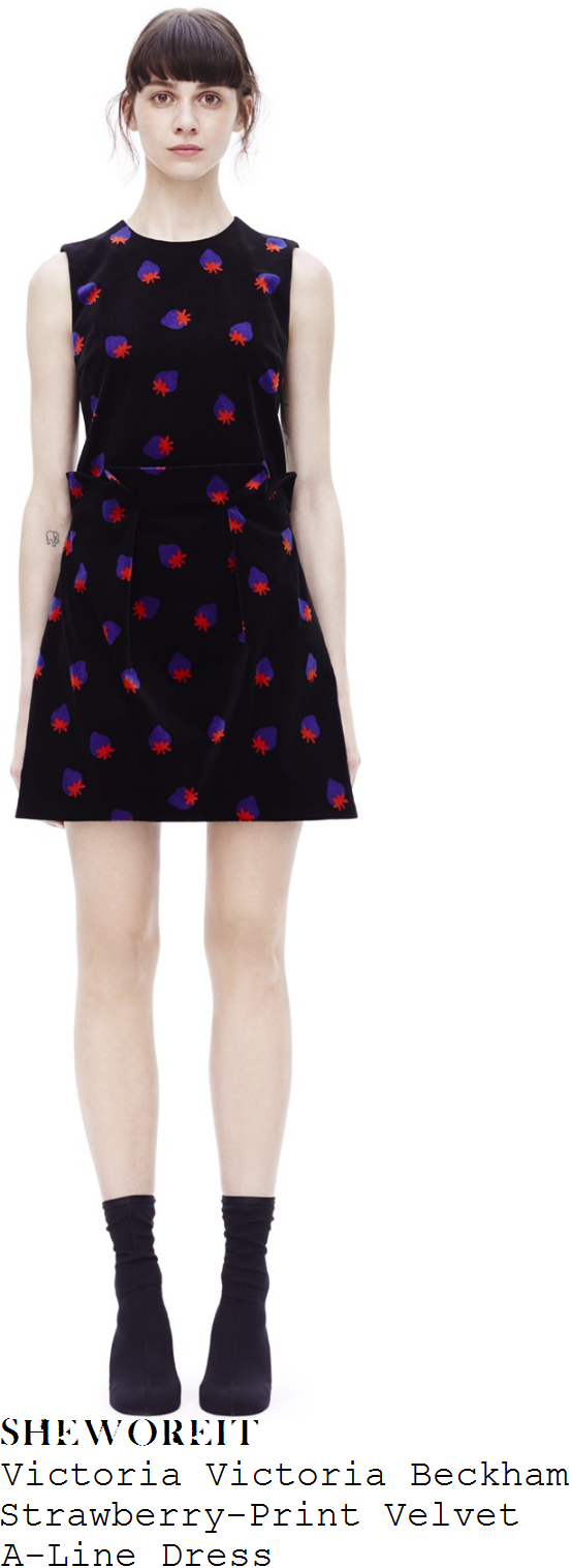 jenna-coleman-victoria-victoria-beckham-black-bright-blue-and-red-strawberry-print-sleeveless-folded-orgami-pleat-detail-textured-velvet-a-line-mini-dress
