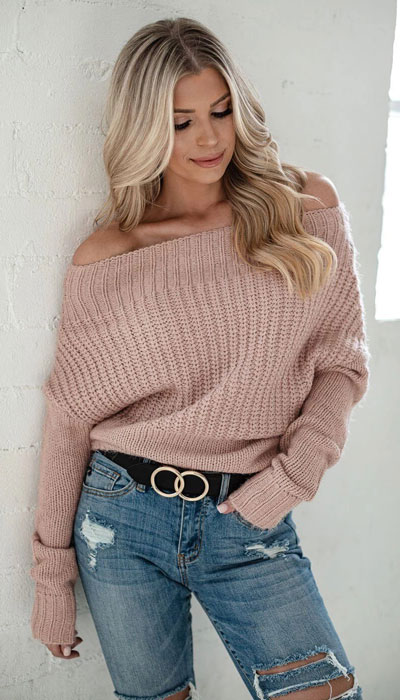 Knitted outfits are versatile pieces that adapt to every woman's style. Mix up your style with these 25 Charming Knitwear to Keep You Stylish and Warm. Winter outfits via higiggle.com | off shoulder sweater in pink | #knit #winter #fashion #sweater
