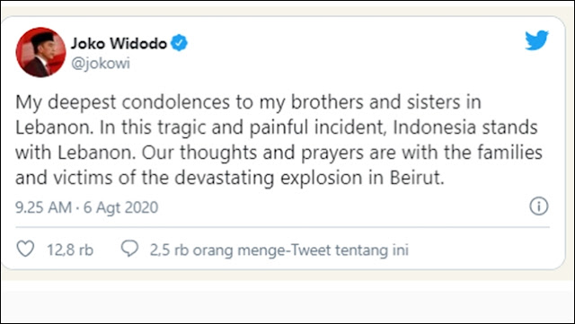 Jokowi Berbelasungkawa Atas Tragedi Lebanon, Pakai Bahasa Inggris