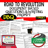 Road to Revolution DBQ, Early American History DBQ, DBQ Document Based Question Writing Activity, American History Activities
