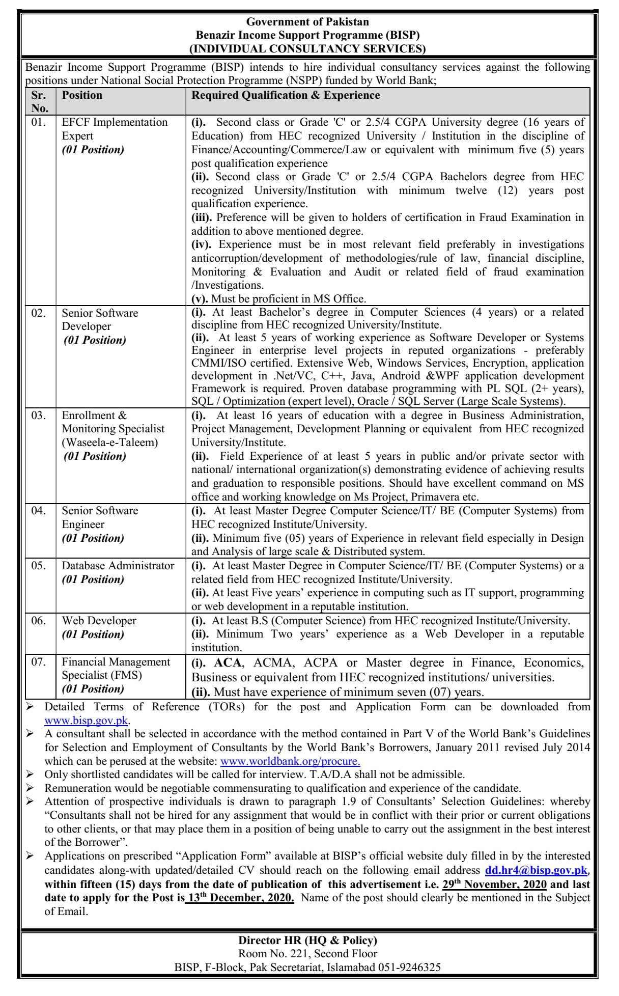Benazir Income Support Programme BISP Latest Jobs 2020