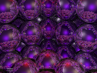 '. mirrorspace .' a fractal optical space using mirrored spheres, (c) Eric Baird 2011