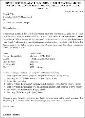 Contoh Surat Lamaran Pekerjaan Untuk Transportasi Dan Logistik