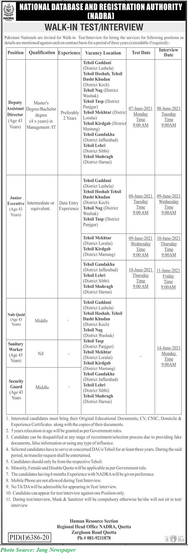 NADRA Jobs 2021 - Latest Jobs in National Database and Registration Authority Walkin Interviews