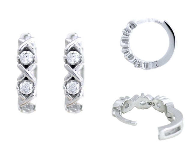 Diamond Silver XOXO Hoop Earrings