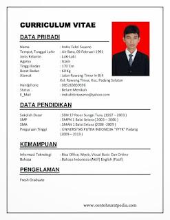 Contoh CV Untuk Lamaran Kerja [ Curiculum Vitae ] Yang Baik Dan Tepat