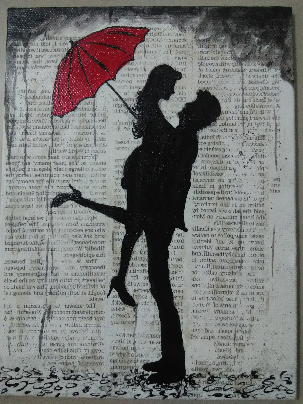 Red umbrella couple in rain painting for Painting red umbrella