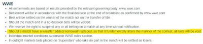 Paddy Power / Betfair WWE Betting Rules